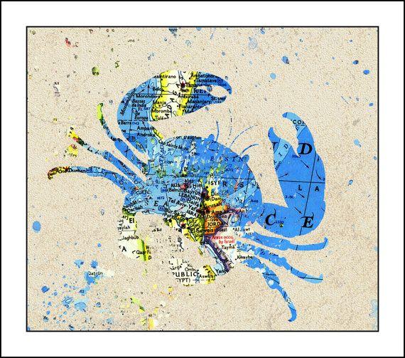 Crab Splatter MapCrab Print Crab art  Map Art by SplatterMaps