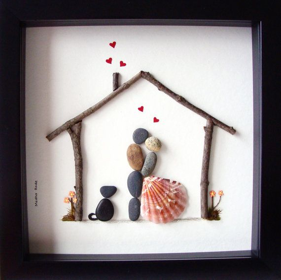 Einzigartiges Haus Erwärmung Geschenk - Familie mit zwei und Hund - Custom Familie Geschenk-Pebble Familie - Menschen - Hund Liebhaber Geschenk-Pebble Felsmalereien
