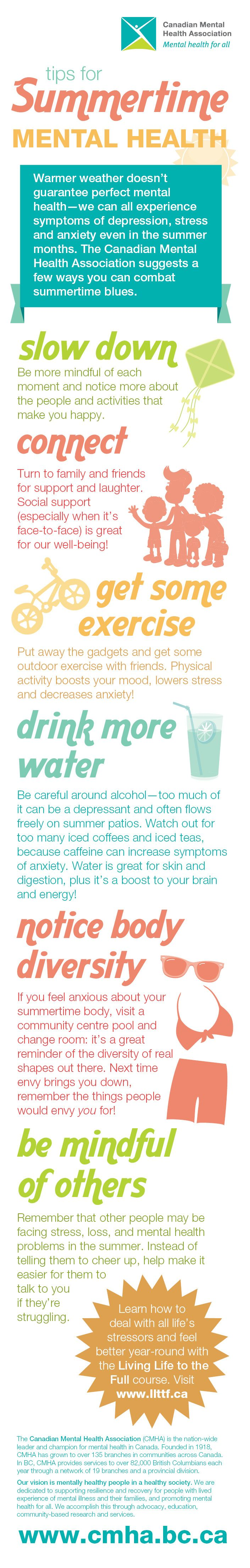 Warmer weather doesn't guarantee perfect mental health—we can all experience symptoms of depression, stress and anxiety even in the summer months. Which is why, all this week, we're featuring a series of tips to help you combat the summertime blues!