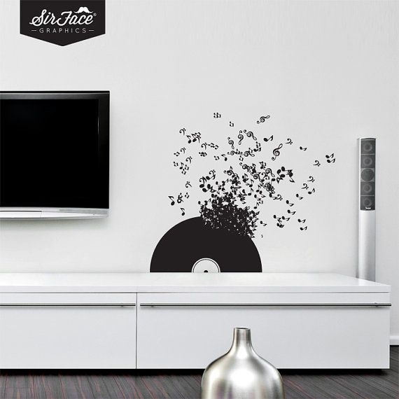 Vinyl Record Wall Decal  Music Wall Decal  Wall by SirFaceGraphics, £23.00