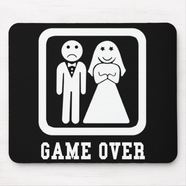 Game Over Bachelor Stag Party Gift Black White Mouse Pad