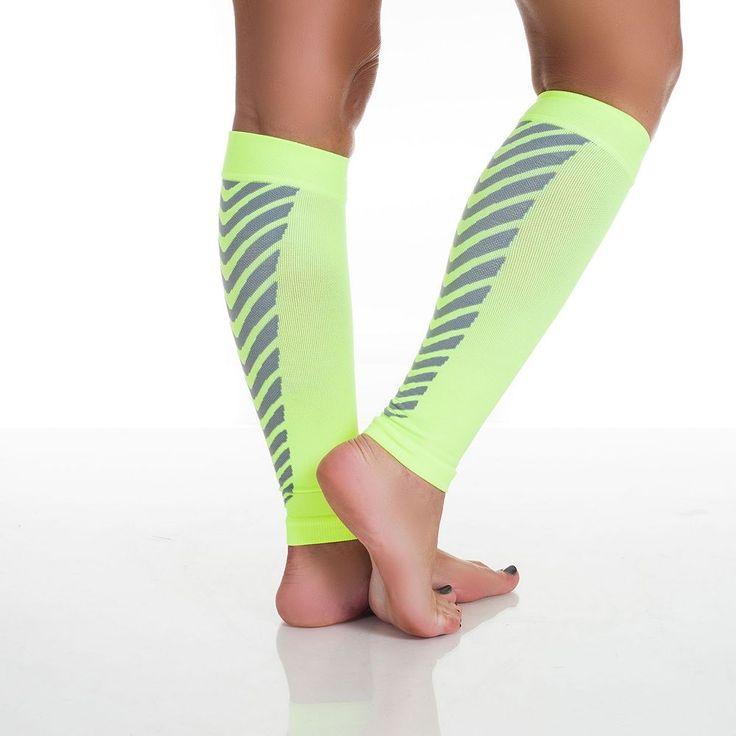 Calf Compression Running Sleeve Socks - Adult, Yellow