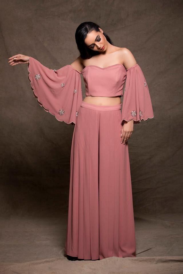 d94329442 Ruhmahsa ~ Blush Pink Off Shoulder Embroidered Crop Top and Palazzo Pants  Set #ruhmahsa #palazzo #pants