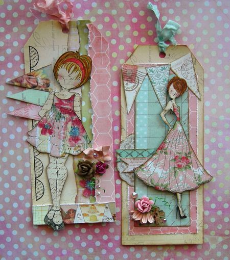 Tag inspiration made with Julie Nutting's rubber stamp line-designs stamped on different papers and layered
