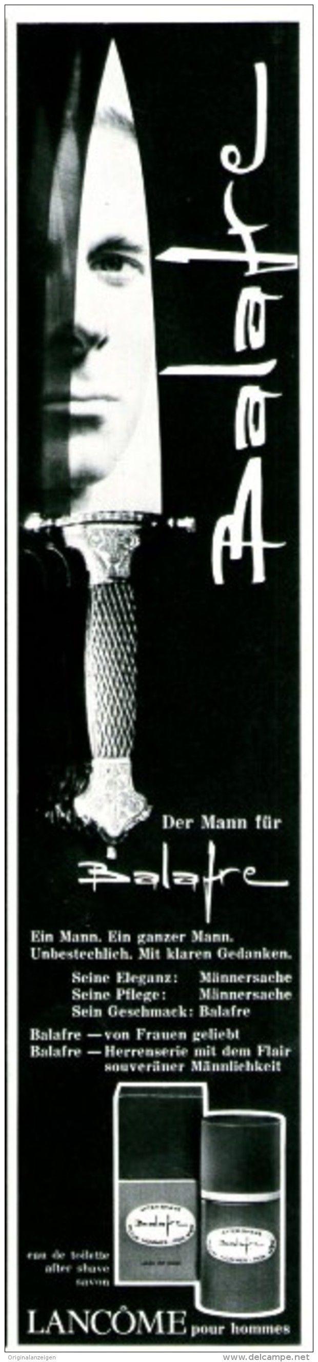 Original-Werbung/ Anzeige 1969 - BALAFRE / LANCÔME POUR HOMMES - ca. 55 x 240 mm