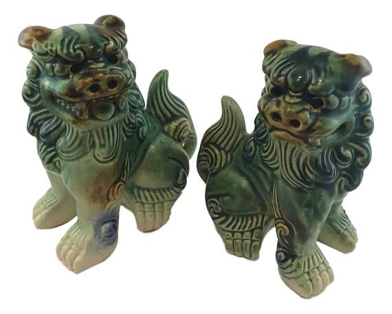 SHOP HOME DECOR NOW! Vintage Small Ceramic Foo Dog Garden Ornaments - Garden Sculptures for Sale by Heathertique