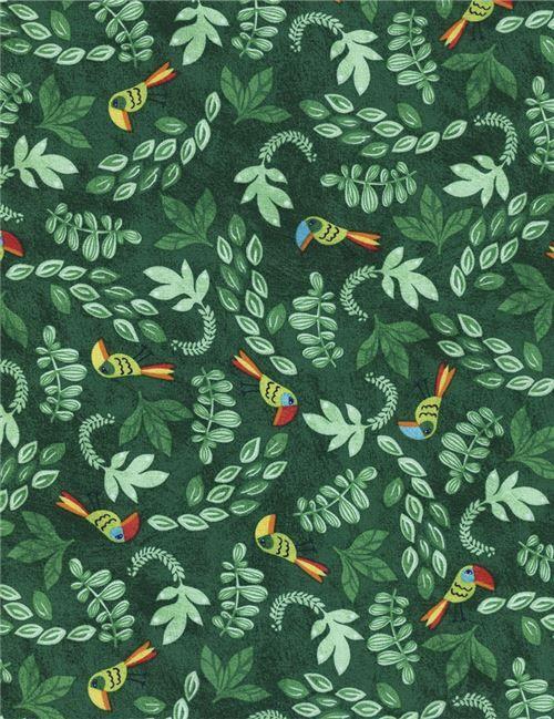Grüner Stoff mit Blatt buntem Vogel von Timeless Treasures - Tierstoffe - Stoffe - kawaii shop modeS4u