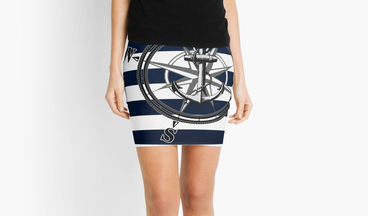 Navy Striped Nautica by ngdesign81 #navy #stripes #striped #anchor #compass #skirt