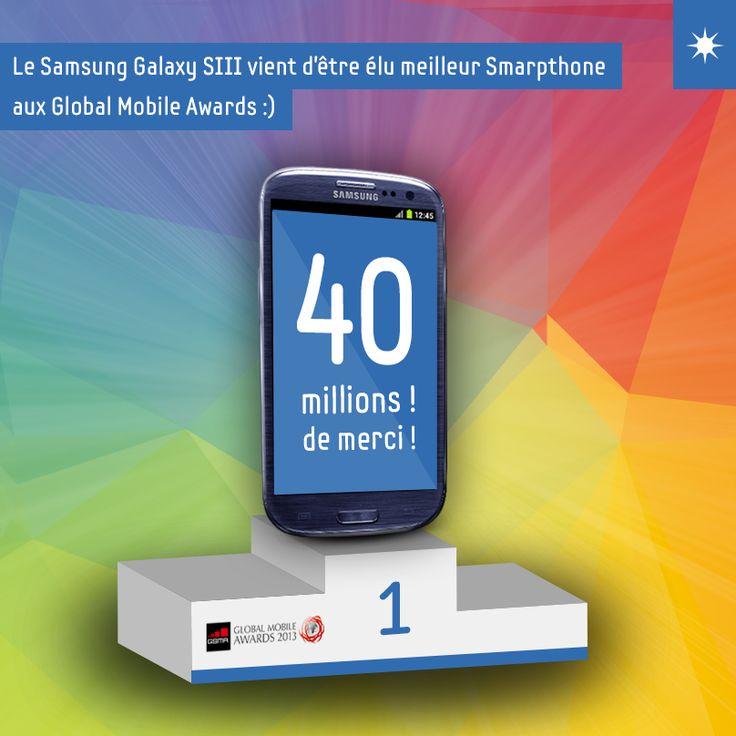 Vous avez été conquis par le #Samsung #GALAXYSIII, comme plus de 40 millions de personnes dans le monde ! Il vient d'être élu meilleur Smartphone aux Global Mobile Awards !