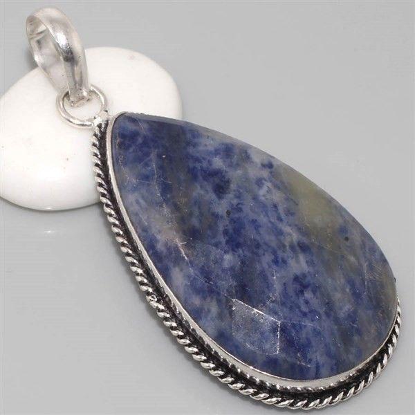 Huge Faceted Sodalite Vintage Style Silver Gemstone Pendant