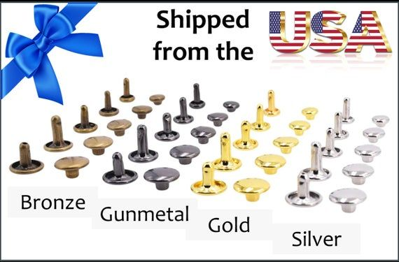 Gunmetal Rivets for Leather Fast Shipping from USA! 100ct 8mm Small Bronze Cap Rivet Studs