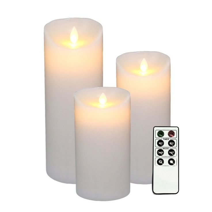 """Flameless Candles,Dancing Flame Battery Candles Set Led Pillar Real Wax&Flickering with Remote Control Ivory 3PCS ( H 5"""" 7"""" 9"""" x D3.15)"""