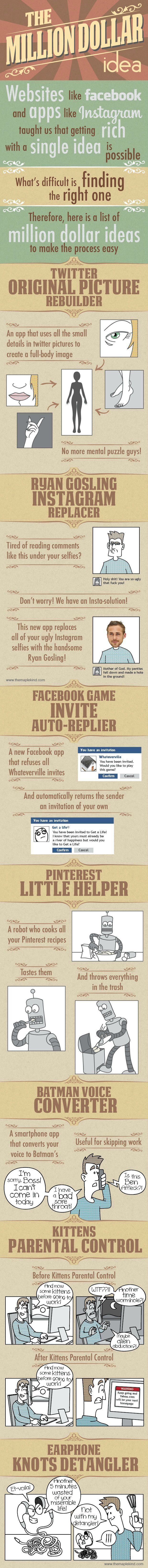 A list of million dollar ideas to make you rich - [Comic #Infographic]