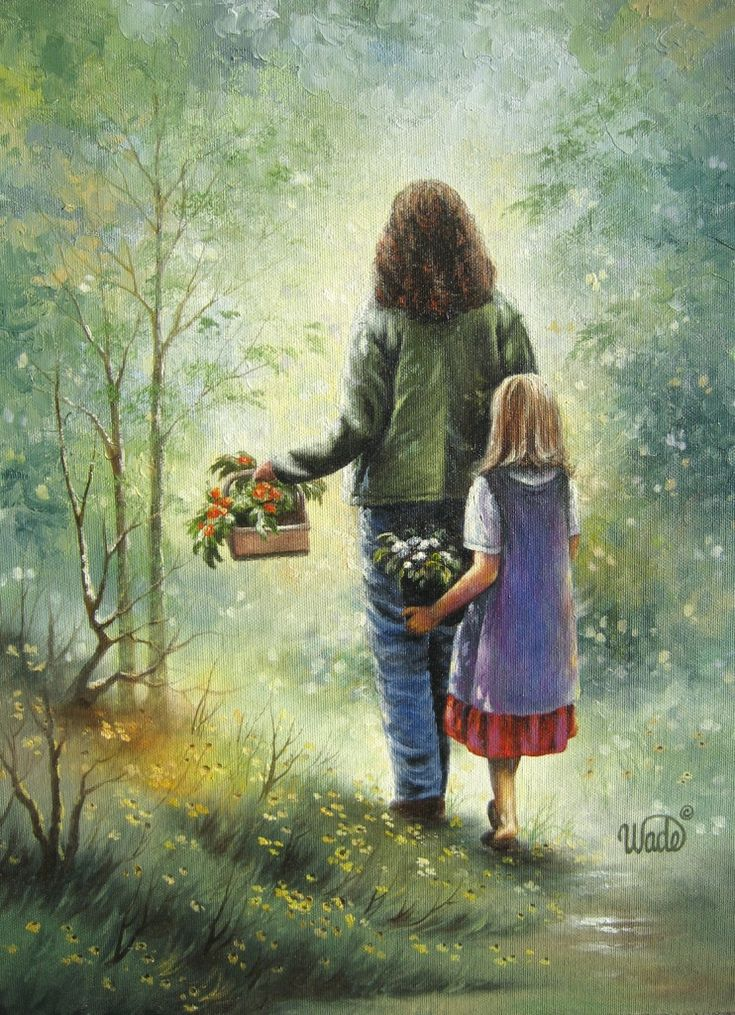 Mother and Daughter Art Print, Garden girls, Mothers Day art, motherhood paintings, Vickie Wade art. $26.00, via Etsy.
