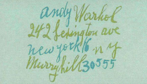 Tarjeta de Andy Wahrol
