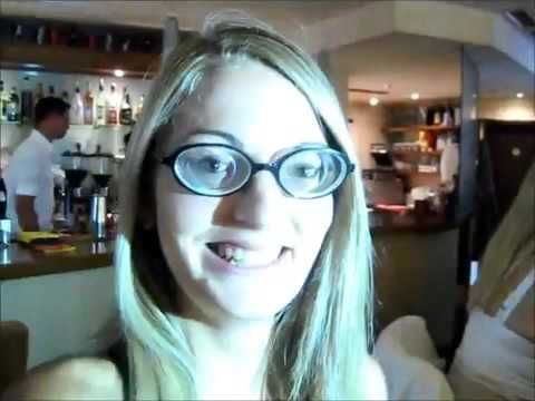 Hot blonde girl wearing strong glasses