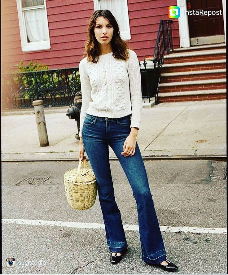 A lil 70s vibe - Matilda vegan flats, flare jeans, and a cozy sweater