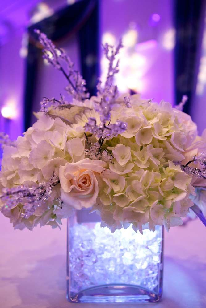 Sweet 16 Winter Wonderland Birthday Party flowers!  See more party planning ideas at CatchMyParty.com!