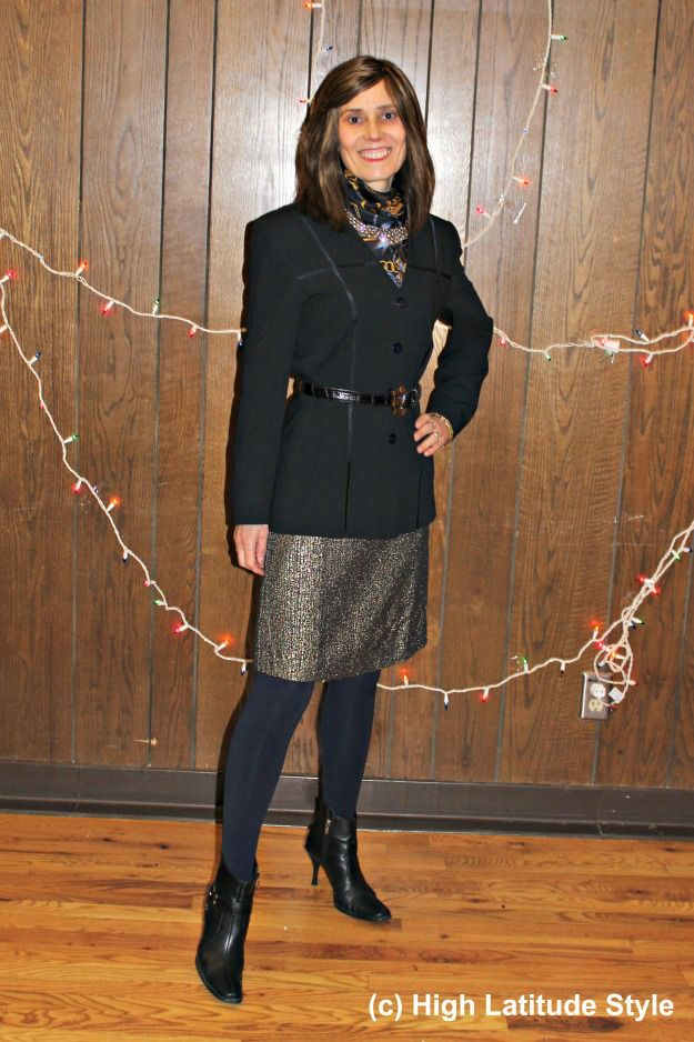 #maturefashion woman in festive work outfit