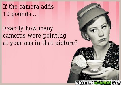 If the camera adds  10 pounds.....  Exactly how many  cameras were pointing  at your ass in that picture?