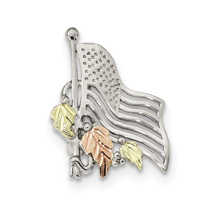 Sterling Silver & 12k Accents American Flag Pin
