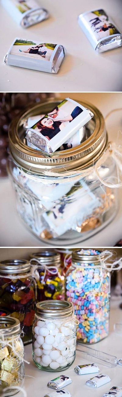 candy favors with your engagement photos