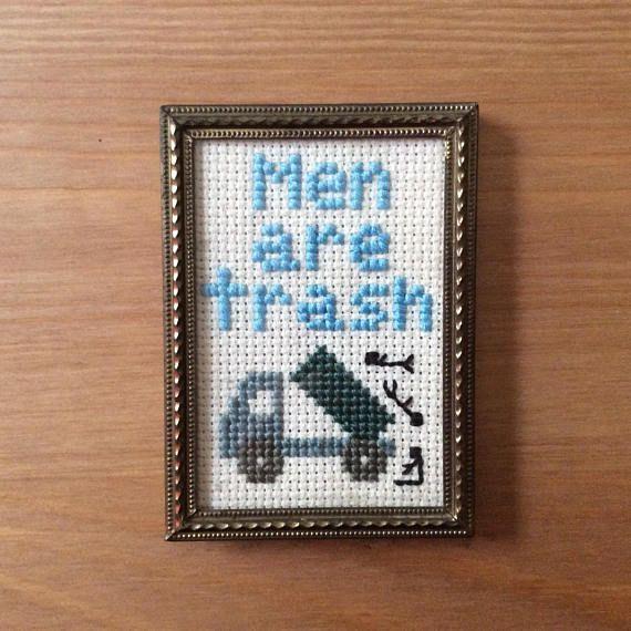 men are trash mini cross stitch in gold frame