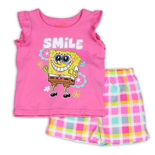 Nickelodeon Girl's SpongeBob Toddler Shorts Set 2T, 3T, 4T Pink #Nickelodeon #Everyday
