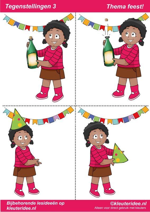 Tegenstellingen deel 3, thema feest voor kleuters, juf Petra van kleuteridee, bij behorende les op de website, te gebruiken bij kinderboekenweek 2014, preschool opposites, free printable