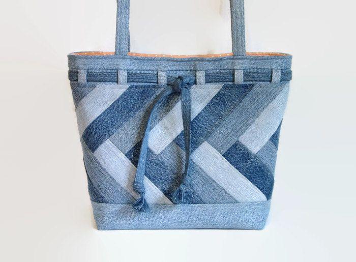 Grande del dril de algodón azul bolso de por SuzqDunaginDesigns