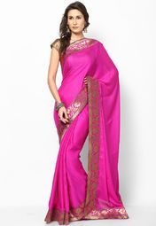 indian roots purple sarees | New Vishal Georgette Fuschia Saree Rs.2599