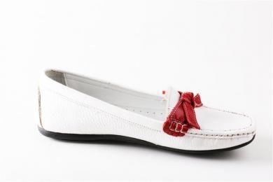Anne Line - Kadın %100 Deri Günlük Rahat Beyaz Kırmızı Ayakkabı