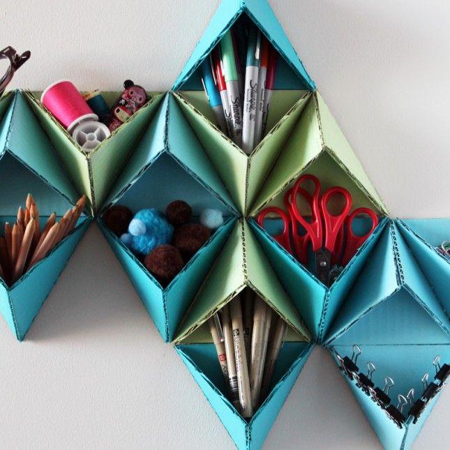 DIY: triangular wall storage system