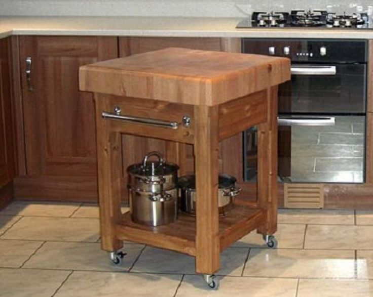 Butcher block island with wheels kitchen storage - Small butcher block island ...
