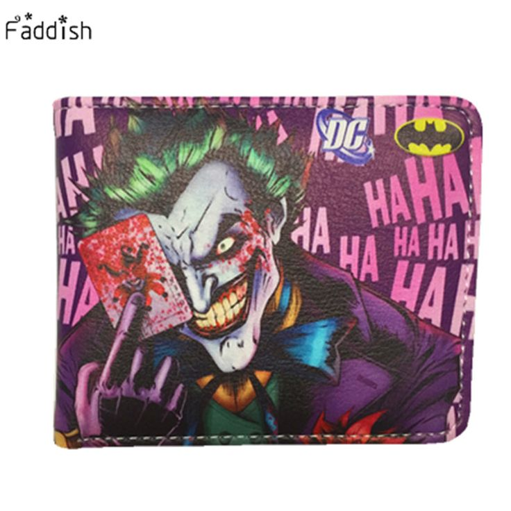 Marvel DC Anime Wallets 2016 New Designer The Joker Captain America Wallet Young Boy Girls Superhero Purse Small Money Bag
