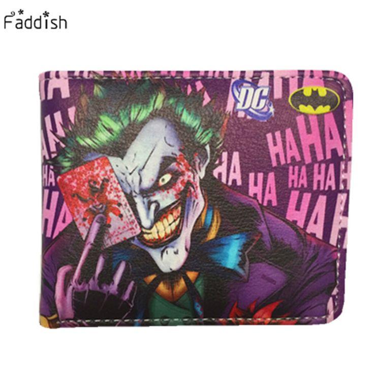Marvel DC Anime Wallets 2016 New Designer The Joker Captain America Wallet Young Boy Girls Superhero Purse Small Money Bag