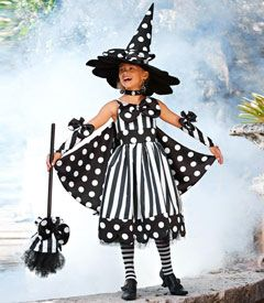 spooky stripes witch costume - black is a witch's favorite color -- but you give it a totally fun twist. bold stripes and dots play together on your satin dress, which has a bow, a tulle underskirt and removable cape you can attach to your hands. a bow accents your hat, glovelets and broom.