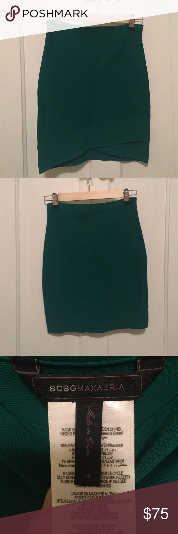 BCBG Maxazria green bondage mini skirt. Size M BCBG Maxazria emerald green bondage mini skirt. Size medium. Perfect for going out! Excellent condition! BCBGMaxAzria Skirts Mini