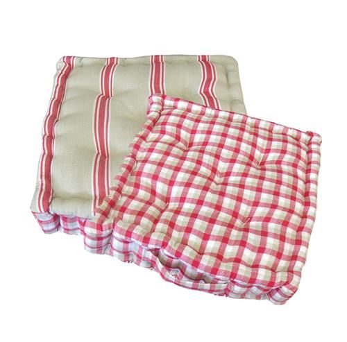 """15"""""""" Plush Pink White and Beige Striped Reversible Indoor Chair Cushion"""