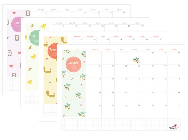 Planejamento mensal 2015 - Não Me Mande Flores