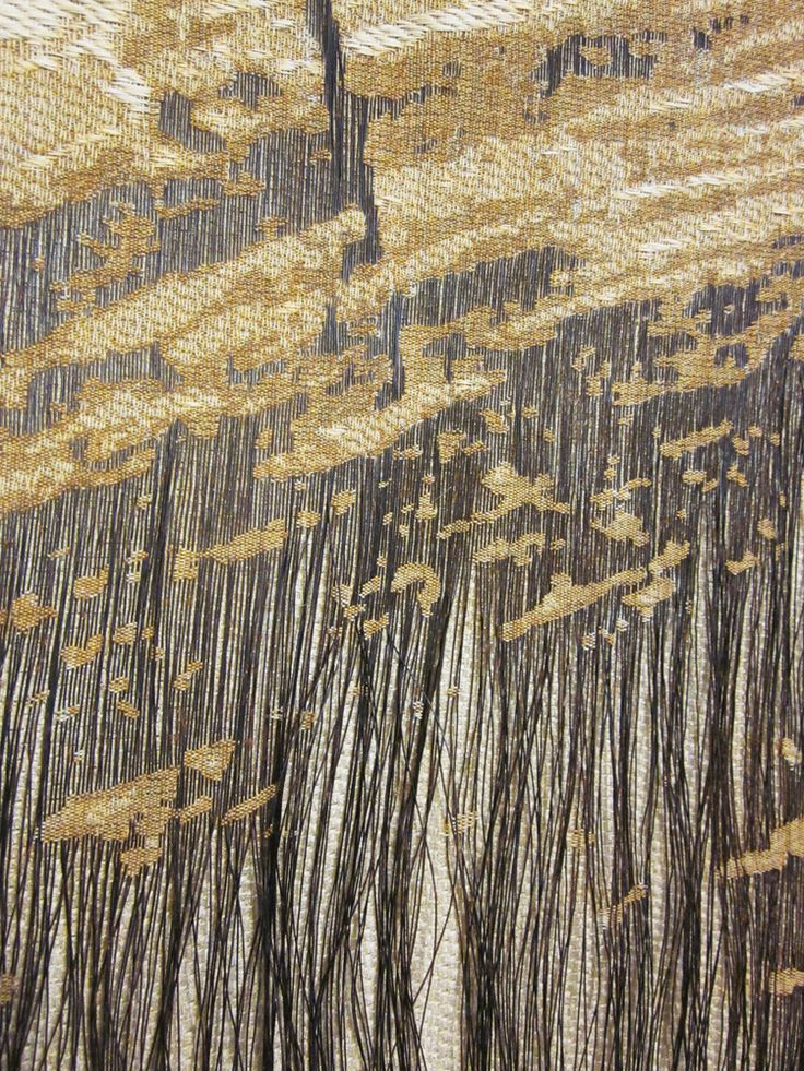 Jennifer E. Moss -- detail of work, of which the title is unclear __ Steel and Cotton. Woven on jacquard loom, then rusted. __ via http://jenniferemoss.blogspot.co.uk, Sep 2, 2012 post.