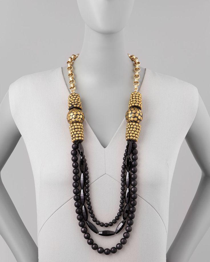 "Devon Leigh Black Onyx Multi-Strand Necklace, 40"" - Neiman Marcus"