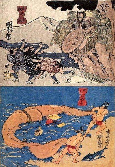 歌川国芳の狸の金玉シリーズ Kuniyoshi Utagawa, Raccoon dogs imitating tengu, Raccoon dogs using their scrotums as a fishing net