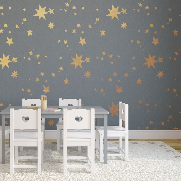 Make a wish! This star of a pattern is perfect for kid's rooms, nurseries, you name it.  Sleep under the stars with your own starry ceiling, or even try metallic, or glow in the dark paint! Skys the limit!