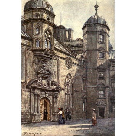 Edinburgh 1904 George Heriots Hospital quadrangle Canvas Art - John Fulleylove (18 x 24)