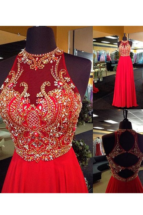 Elegant Halter Floor Length Beading Red Prom Dress With Cut Out Back