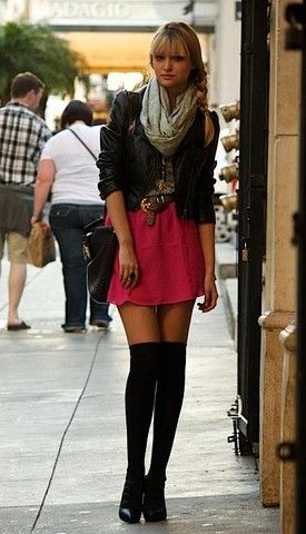 Thigh highs: Black Leather Jackets, Minis Skirts, Style, Pink Skirts, Outfit, Knee Socks, Knee Highs, Fall Fashion, Knee High Socks