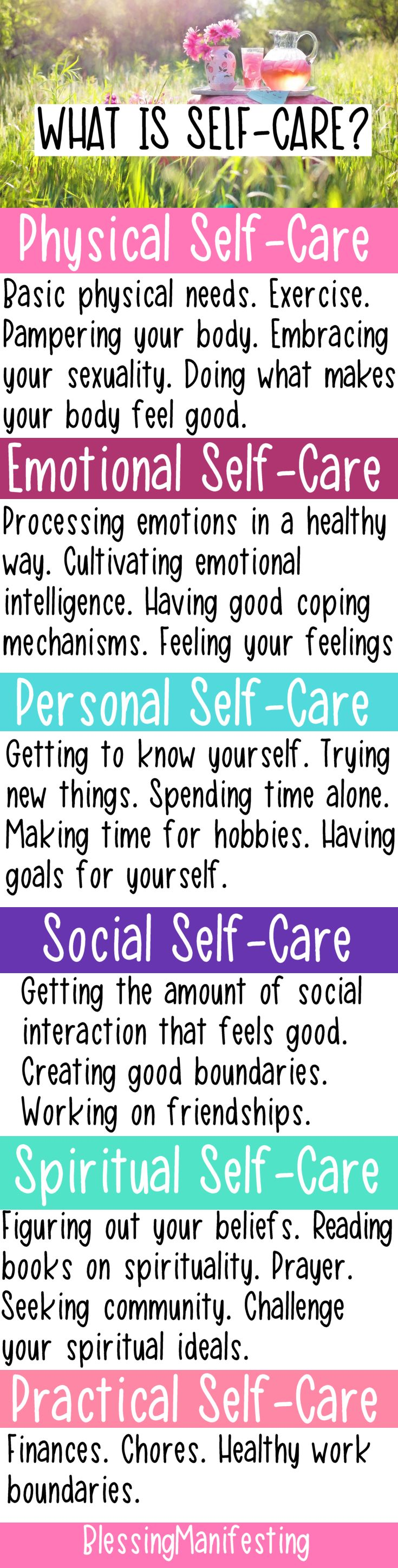 Self care. Important ways to take care of yourself, your health and your mental wellbeing.