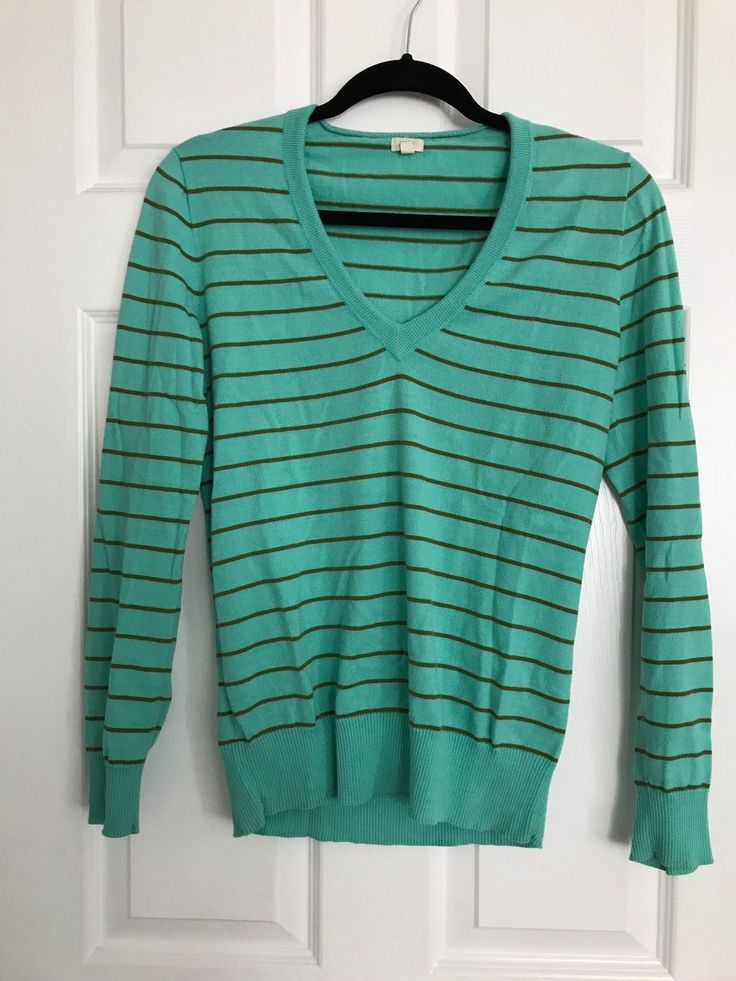 J.Crew Womans V-Neck Sweater Teal striped Size M