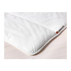 """GRUSBLAD Comforter, warmer - Full/Queen - IKEA $39.99 """"If you don't feel too warm or too cold when you sleep, this comforter with more filling is a good choice.Outer fabric of polyester/cotton is easy to care for because it dries quickly.A good choice if you are allergic to dust mites since the quilt is machine-washable at 140°F (Hot), a temperature that kills dust mites."""""""